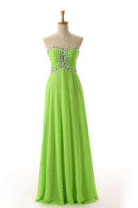 Unique Lawn Green A Line Sweetheart Backless Chiffon Bridesmaid Dresses Evening Dresses