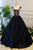 Generous Puffy A-Line Cap Sleeves lace appliques Black Satin Long Prom Dress