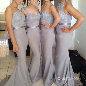 Elegant Gray Four Styles Sleeveless Mermaid Lace Bridesmaid Dresses Evening Dresses