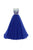 Elegant Royal Blue A Line Round Neck Sleeveless LongTulle Evening Dresses Prom Dresses