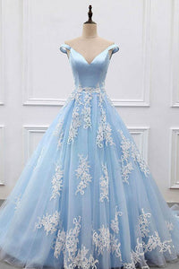 Off Shoulder Train Blue Tulle Prom Dress lace appliques evening dresses
