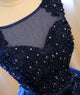 Dark Blue Tulle Lace Beads Ball Gown Open Back wedding dresses