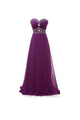 Elegant Purple Sweetheart Sleeveless Long Evening Dresses Chiffon Prom Dresses With Rhinestones