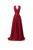 Sexy Dark Red V Neck Empire Waist Open Back Chiffon Prom Dresses Evening Dresses - NICEOO