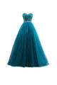 Gorgeous Deep Sky Blue Sweetheart Open Back A Line Tulle Evening Dresses Prom Dresses - NICEOO
