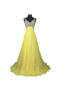Elegant Yellow A Line Sleeveless V Neck Open Back Beading Long Chiffon Prom Dresses Evening Dresses - NICEOO