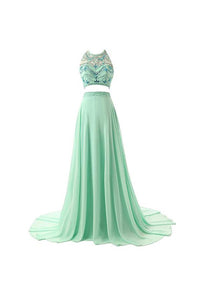 Unique Bean Green A Line Halter Two Pieces Chiffon Bridesmaid Dresses Prom Dresses - NICEOO