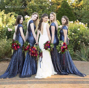 Sexy Navy Blue Round Neck Mermaid Sequin Bridesmaid Dresses Evening Dresses