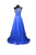 Unique Royal Blue A Line Round Neck Empire Waist One Shoulder Chiffon Prom Dresses Evening Dresses