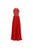 Elegant Red A Line Halter Empire Waist Open Back Chiffon Bridesmaid Dresses Evening Dresses