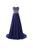 Elegant Navy Blue A Line Strapless Chiffon Prom Dresses Dresses Military Ball Dresses With Beading - NICEOO
