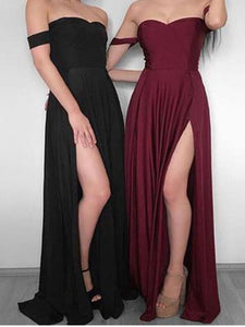 Burgundy Off Shoulder Side Split Long Chiffon Prom Dresses Evening Dresses - NICEOO