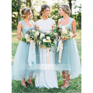 Simple Light Blue Square Neck Strap Empire Waist Tulle Bridesmaid Dresses Evening Dresses