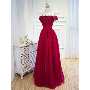 Gorgeous Deep Red A Line Off Shoulder Appliques Lace Up Chiffon Evening Dresses Prom Dresses - NICEOO