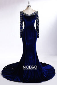 Elegant Navy Blue V Neck Long Sleeves Floor Length Prom Dresses Best Military Ball Dresses - NICEOO