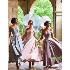 Sweet Pink A Line Off Shoulder Sweetheart Satin Bridesmaid Dresses Evening Dresses - NICEOO