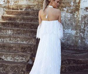White Off Shoulder Backless Lace Wedding Dresses Long Bridal Gown
