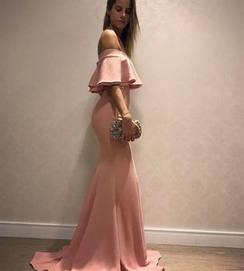 Elegant Off Shoulder Ruched Mermaid Prom Dresses Satin Evening Dresses