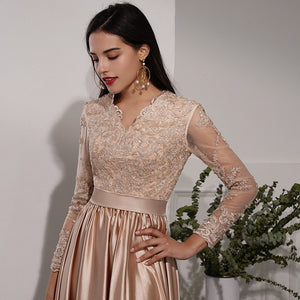 V Neck Long Sleeve Lace Applique Prom Dresses Side Slit Evening Dresses