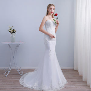 Sweetheart Sleeveless Lace Applique Wedding Dress Mermaid Bridal Gown