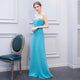 Sky Blue Sweetheart Halter Prom Dresses Cross Back Bridesmaid Dresses