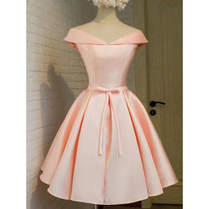 Cute Pale Pink Off Shoulder Knee Length Bowknot Satin Bridesmaid Dresses Evening Dresses - NICEOO