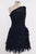 Navy Blue One Shoulder Knee Length Prom Dresses Chiffon Bridesmaid Dresses - NICEOO