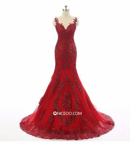 Red Spaghetti Strap Sweetheart Mermaid Long Prom Dresses Lace Homecoming Dresses - NICEOO