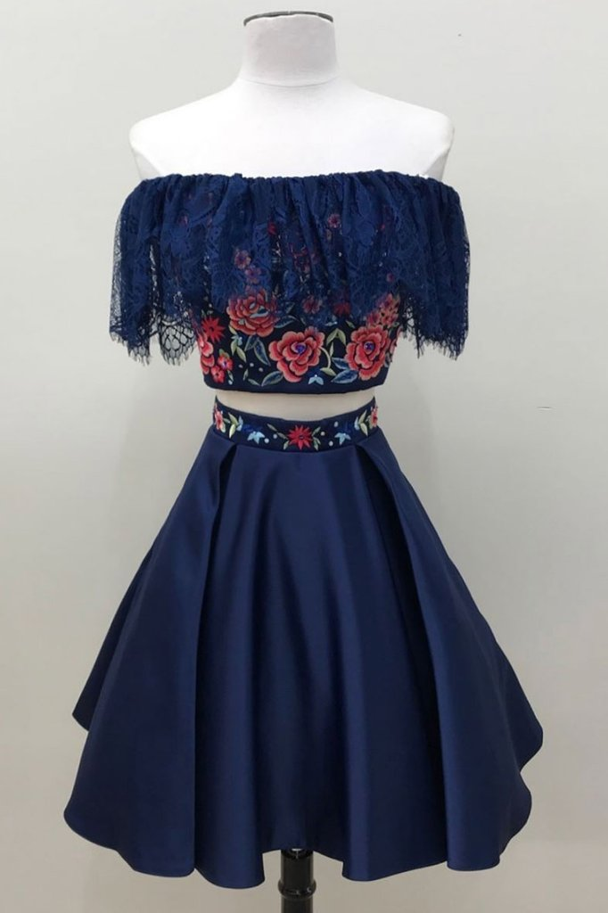 b49936648e20 Navy Blue Two Pieces Off Shoulder Short Homecoming Dresses Best Cocktail  Dresses - NICEOO