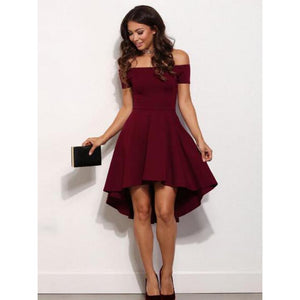 Sexy Dark Red Off Shoulder High Low Mini Satin Evening Dresses Prom Dresses - NICEOO