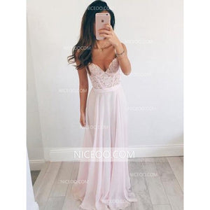 Sexy White V Neck Spaghetti Strap Long Chiffon EveningDresses Prom Dresses - NICEOO