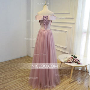 Elegant Blush Pink Off Shoulder Appliques Floor Length Tulle Evening Dresses Prom Dresses - NICEOO