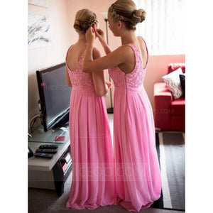 Elegant Pink Sleeveless Round Neck Long Chiffon Bridesmaid Dresses Evening Dresses - NICEOO