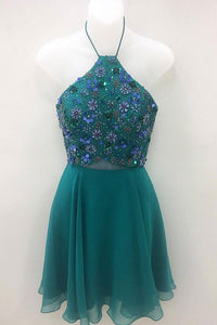 A Line Halter Open Back Short Homecoming Dresses Chiffon Cocktail Dresses With Beading - NICEOO