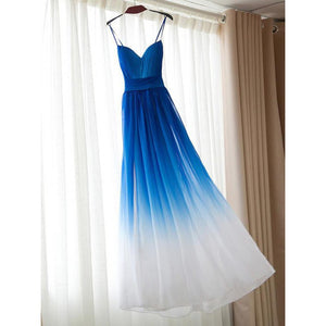 Unique Blue A Line Spaghetti Strap Sweetheart Long Chiffon Prom Dresses Evening Dresses