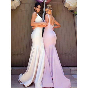 Sexy White Round Neck Open Back Mermaid Satin Evening Dresses Prom Dresses - NICEOO