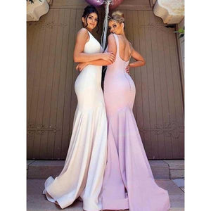 Sexy White Round Neck Open Back Mermaid Satin Evening Dresses Prom Dresses