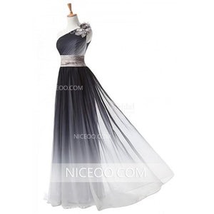 Unique Black A Line One Shoulder Empire Waist Chiffon Prom Dresses Evening Dresses