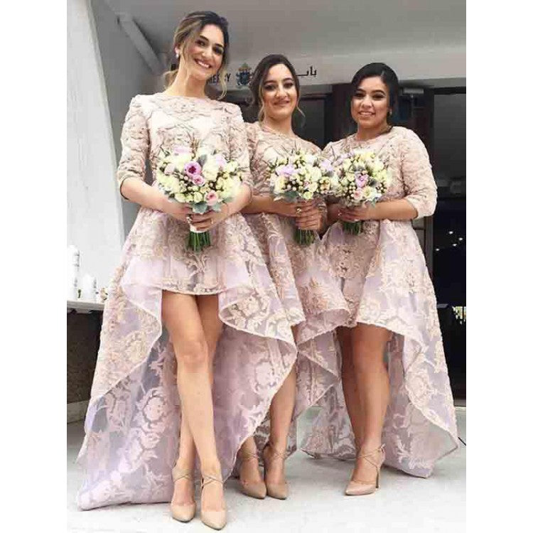 Unique Misty Rose Round Neck High Low Lace Plus Size Prom Dresses  Bridesmaid Dresses
