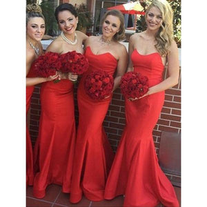 Sexy Red Strapless Open Back Mermaid Satin Prom Dresses Bridesmaid Dresses