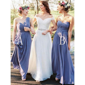 Elegant Baby Blue Two Styles Sweetheart A-Line Chiffon Bridesmaid Dresses Prom Dresses - NICEOO