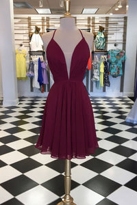 Sexy Burgundy Halter Deep V Neck Open Back Homecoming Dresses Cheap Cocktail Dresses - NICEOO