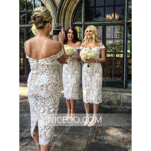Sexy Ivory Sweetheart Off Shoulder Slim Line Lace Bridesmaid Dresses Prom Dresses - NICEOO