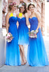 Long Chiffon Evening Dress Gradient Coloured Bridesmaid Dresses