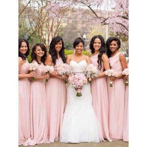 Elegant Pink A Line One Shoulder Long Chiffon Bridesmaid Dresses Evening Dresses - NICEOO