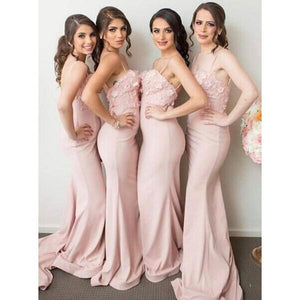 Sexy Blush Pink Sweetheart Spaghetti Strap Mermaid Satin Bridesmaid Dresses Prom Dresses With Appliques - NICEOO