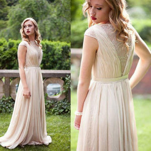 Unique Ivory A Line V Neck Open Back Lace Bridesmaid Dresses Cheap Prom Dresses