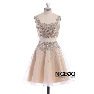 Simple Two Pieces Strap Square Neck Homecoming Dresses Best Cocktail Dresses With Rhinestones