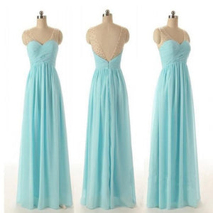 Elegant Baby Blue Sweetheart A-Line Beading Chiffon Bridesmaid Dresses Formal Dresses
