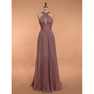 Sexy Brown A Line Halter Open Back Chiffon Bridesmaid Dresses Prom Dresses - NICEOO